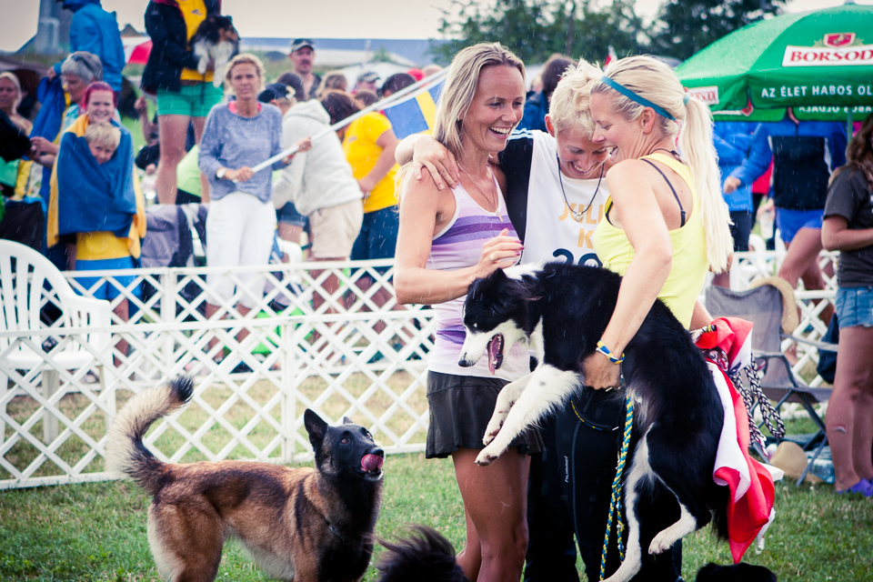 Jenny Damm (SWE), Lisa Frick (AUT), and Marje Piiroja (EST) celebrate for their success in the individual large class in EO2014, Hungary.